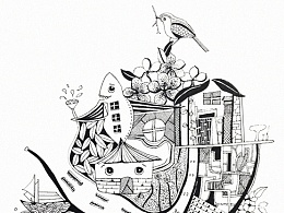 《梦它》黑白插画 手绘