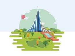 高耸建筑物风景插画