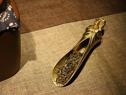 原创达摩茶则手工实心全铜