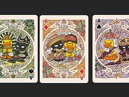 B.Duck小黄鸭xZCOOL站酷复古风联名扑克设计