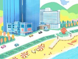 海边建筑插画 青岛香格里拉酒店插画海报动图