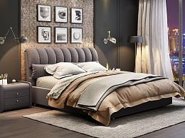 高级灰工业风卧室设计 布艺床3D效果设计 家具3D效果