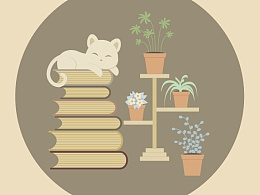 趴在书上睡觉的小猫和它的花