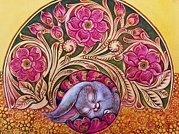 皮雕女式手持长夹《兔圆圆系列》