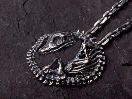骸首饰设计师原创【鳄鱼骨骼吊坠】骷髅龙项链