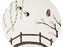 水墨中国风——竹间系列·禅意国画燕子飞来