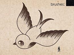 插画练习-birds-复古鸟