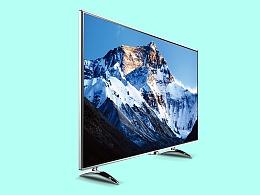 智能电视机外观设计超薄曲屏,大屏幕观看