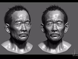 3D老人头像