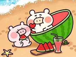 #猪仔猪兜夏日水手#微信表情