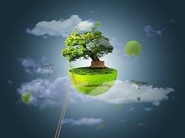 漂浮空中的绿色小岛插画图案