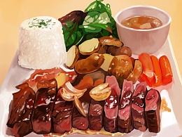 红烧肉盖浇饭