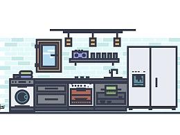 厨房矢量插画练习