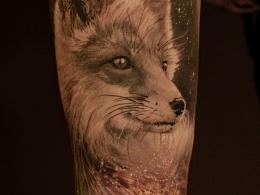 西安天予刺青写实作品 狐狸星空