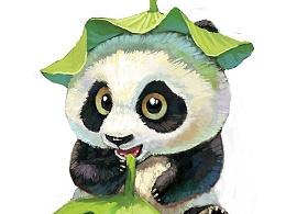 戴荷叶的熊猫