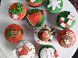 翻糖圣诞系列杯子蛋糕