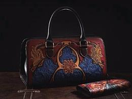 教堂款女士皮雕手提包