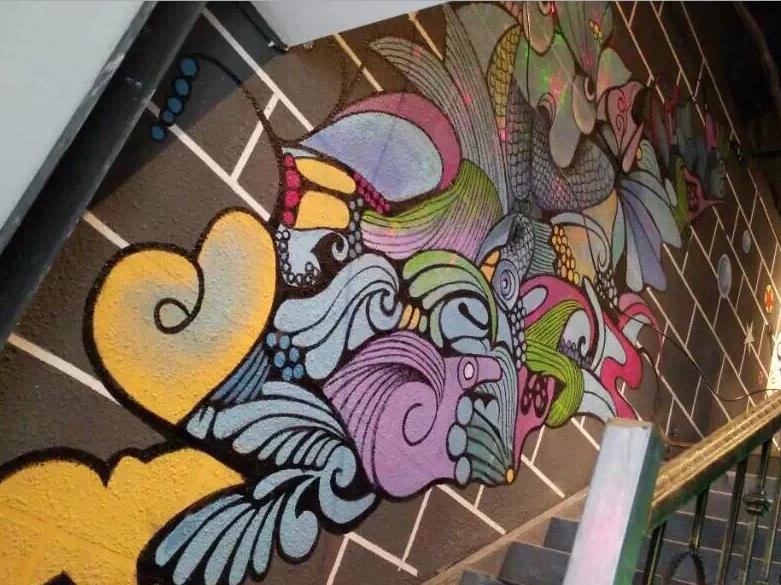 餐饮墙绘壁画_烤鱼店手绘墙图片素材