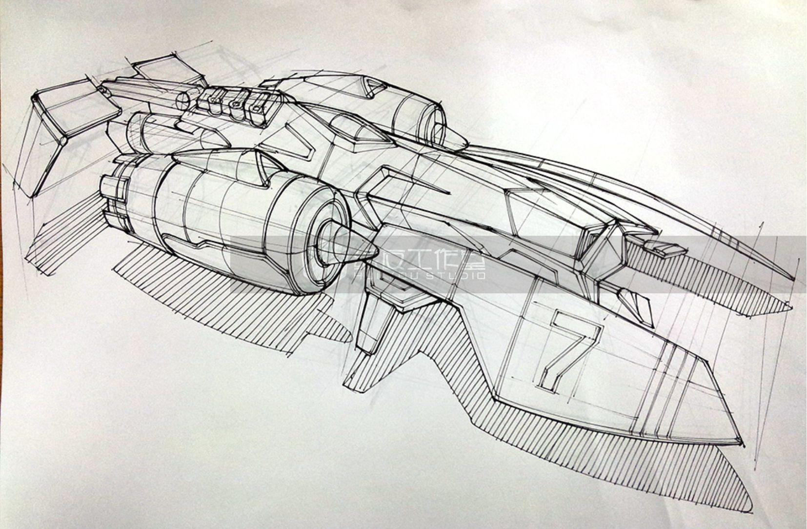 概念飞行器——工业设计产品手绘(内含作画视频过程)