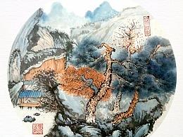 国画-山涧风景