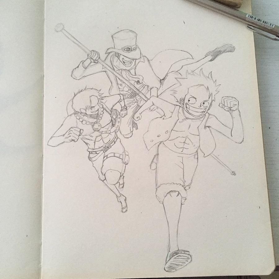 手绘海贼王路飞艾斯萨博三兄弟|绘本|动漫|acehuang