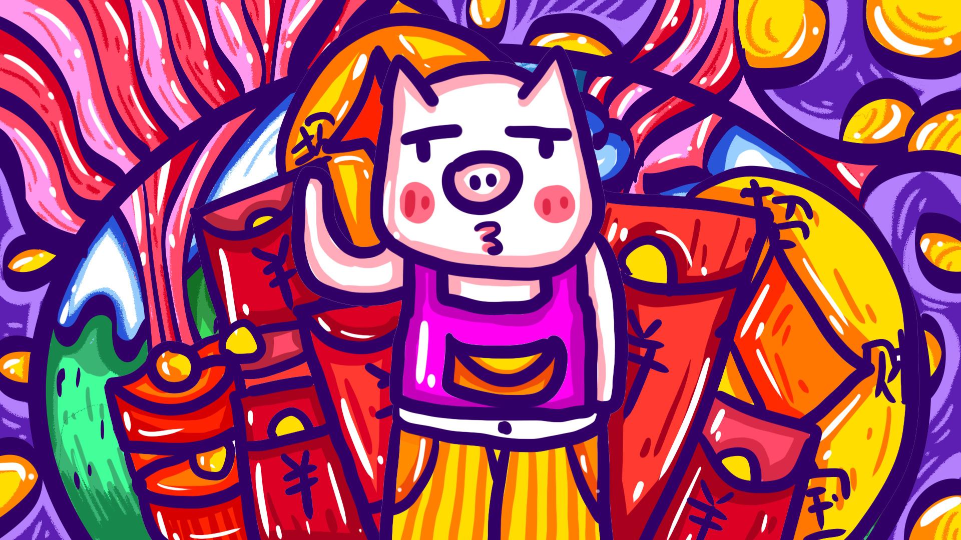 猪年插画|插画|儿童插画|多啦a梦的吴妞妞 - 原创作品图片