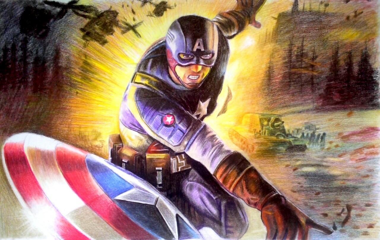 【手绘视频】彩铅速绘美国队长by兔子凌风