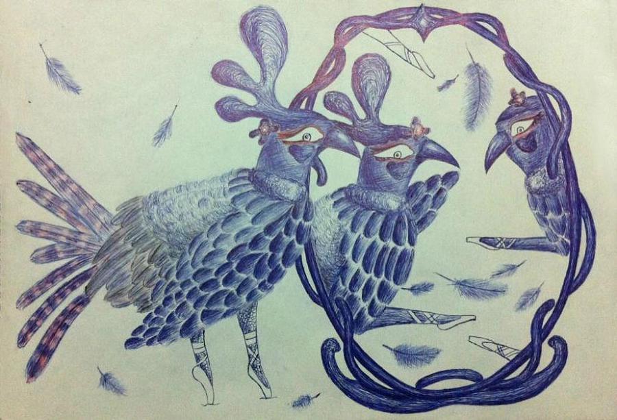 成语字体设计(艺术设计)山鸡舞镜|插画|纯素描贵阳建筑设计师学校图片
