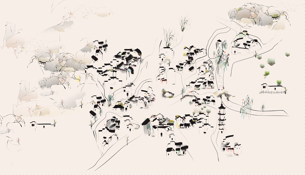 安徽碧山村手绘地图
