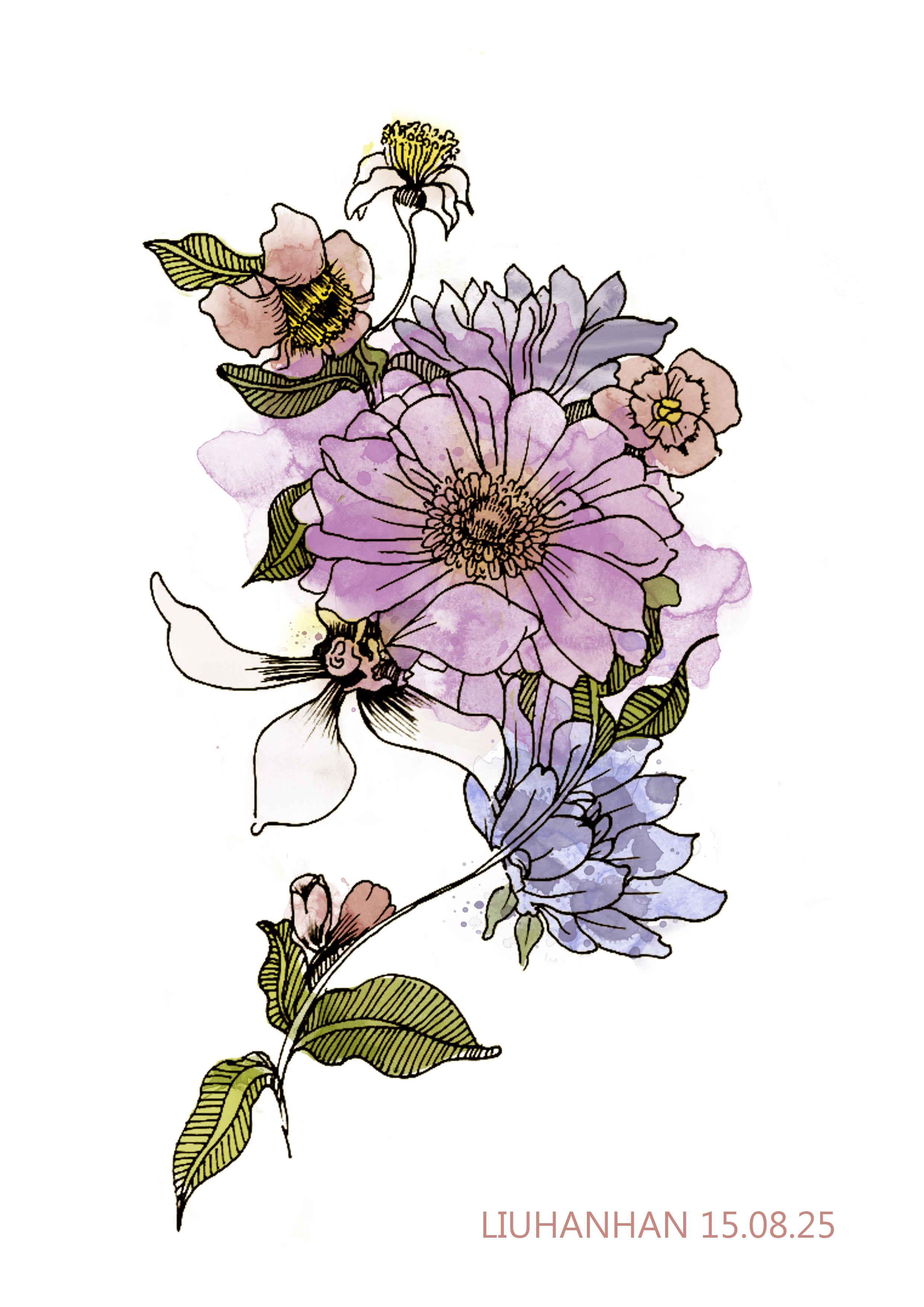 手绘水彩花 平面 图案 galaxy寒 - 原创作品 - 站酷