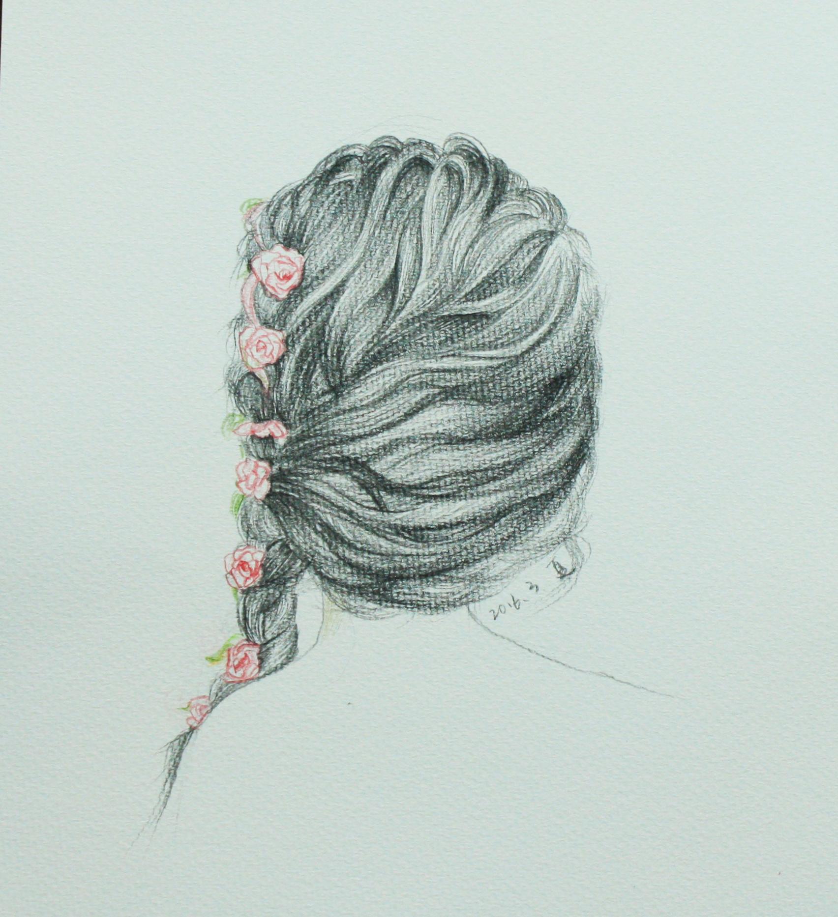彩铅头发背影