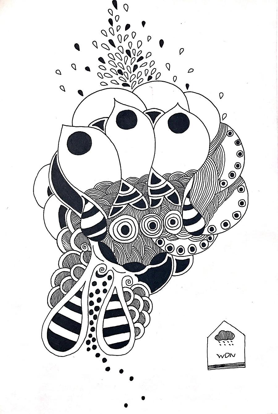 禅绕画·线描装饰画·手绘·插画
