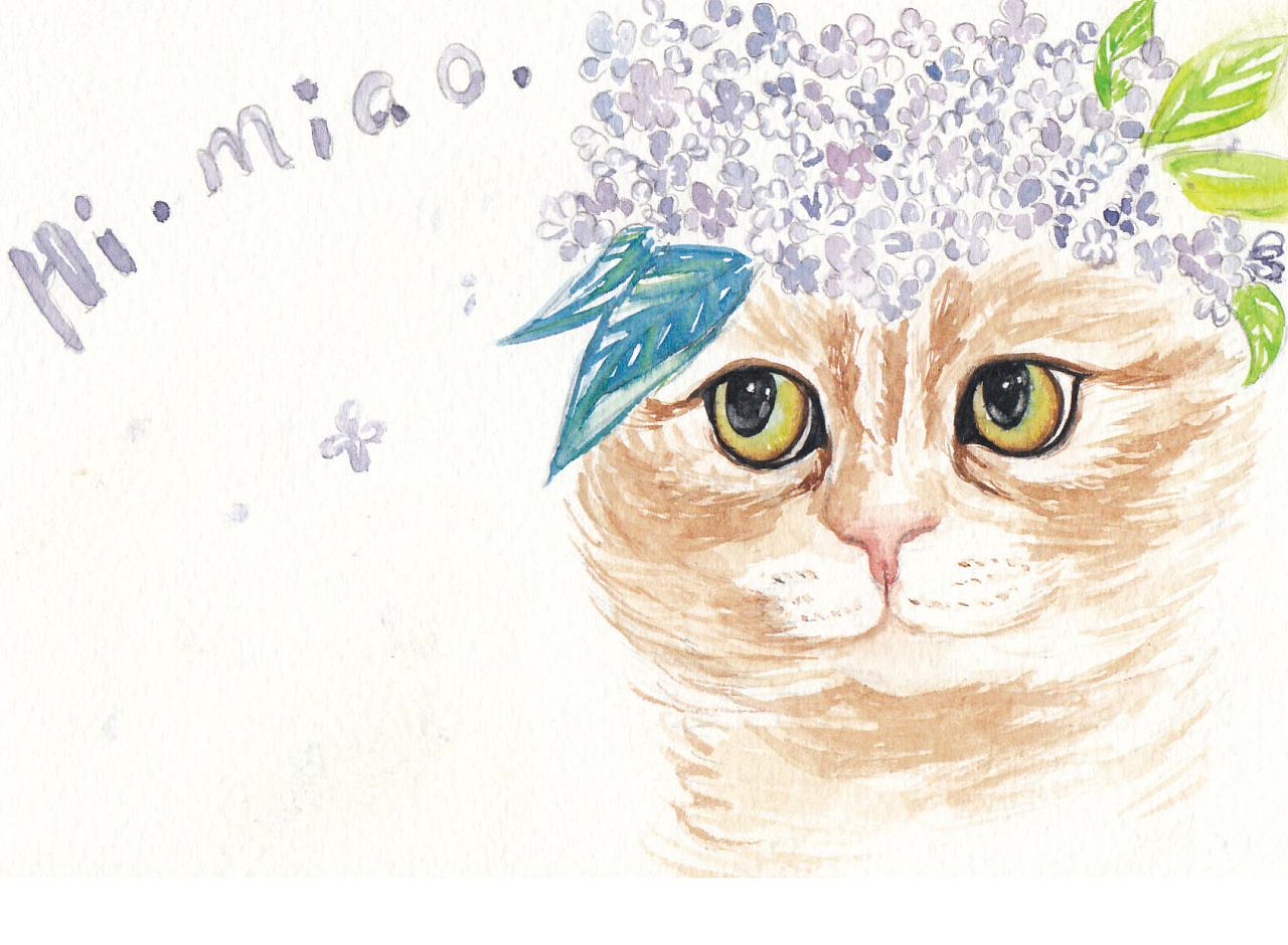 水彩手绘猫咪系列明信片