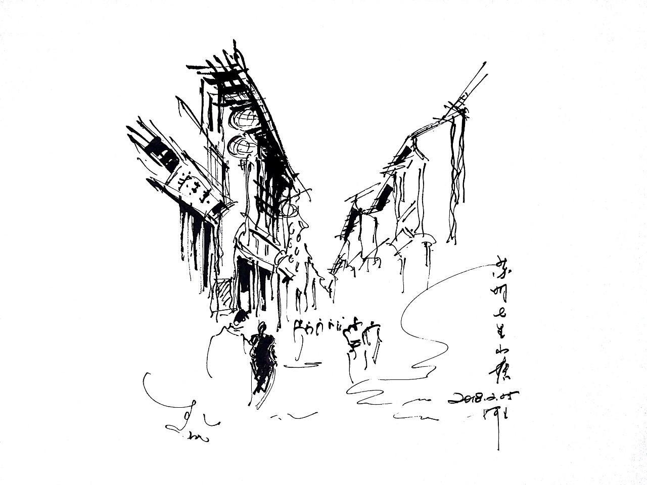 阿王速写建筑风景手绘|纯艺术|速写|阿王速写 - 原创