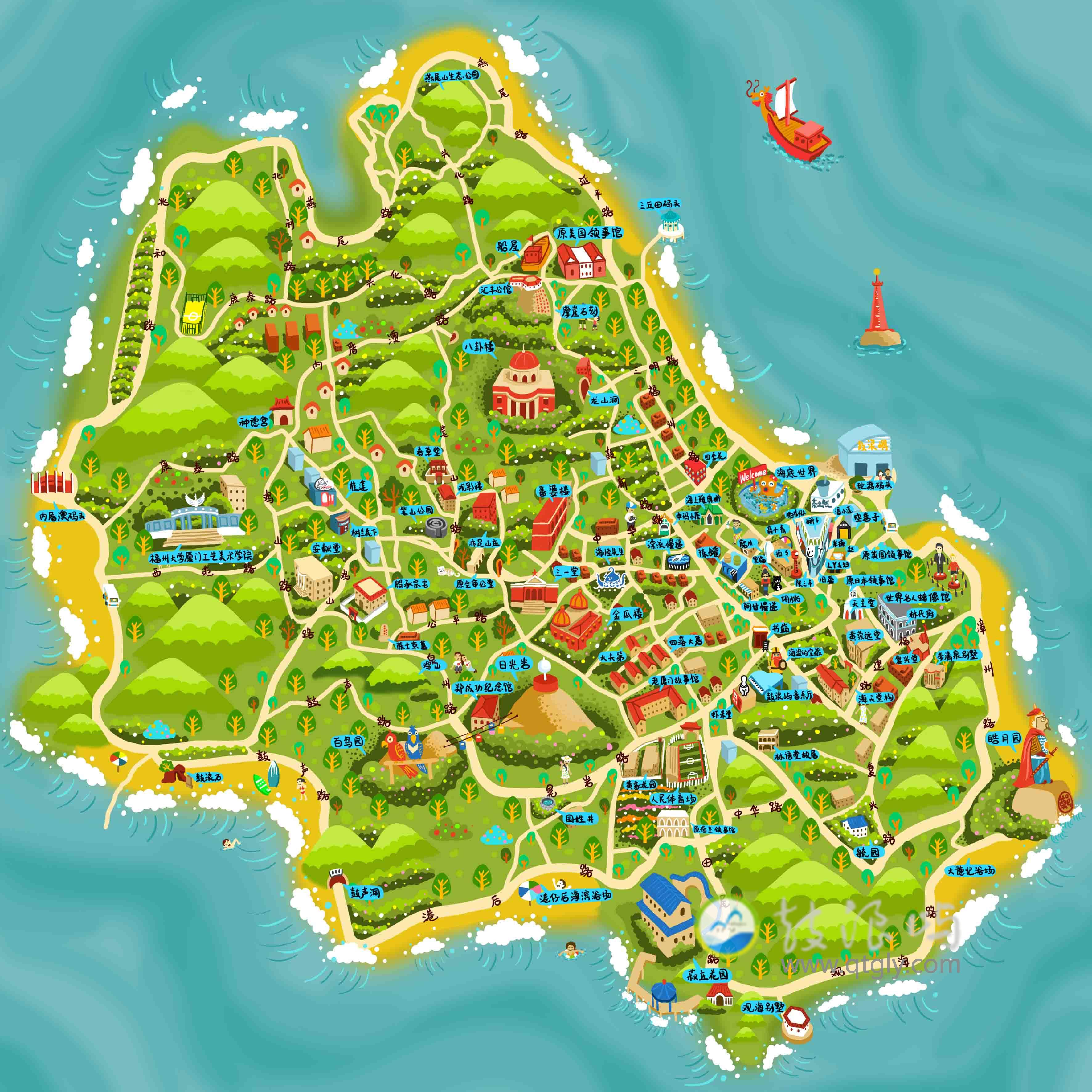 厦门鼓浪屿手绘地图
