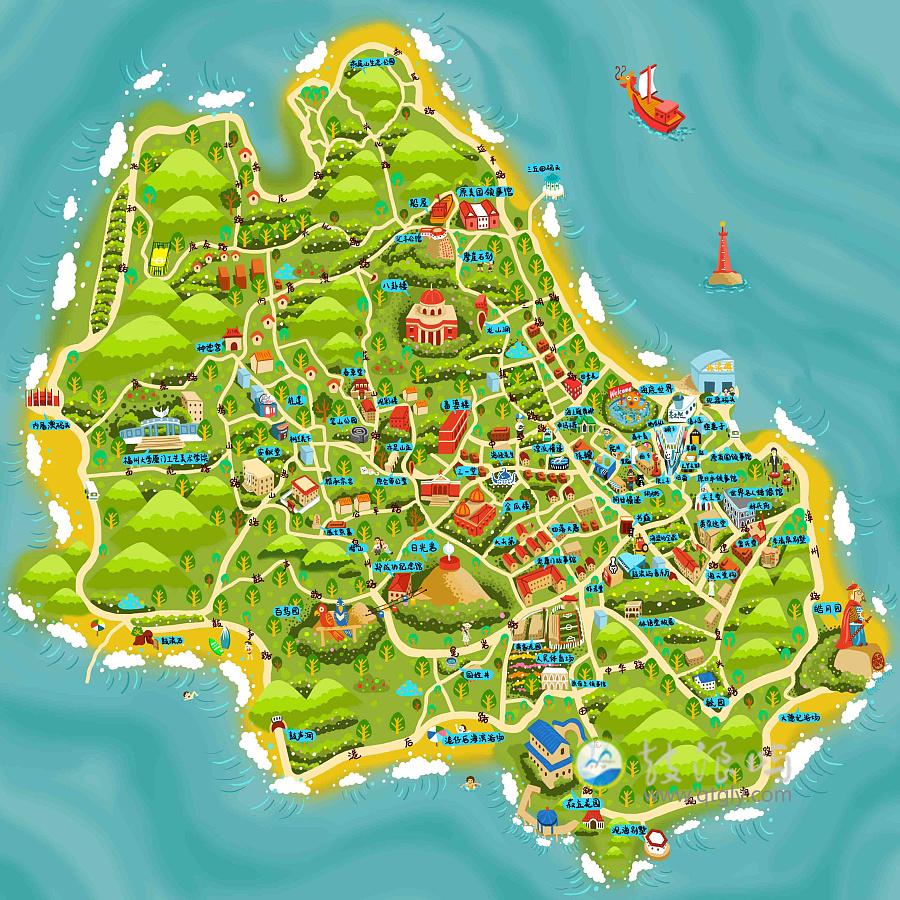 原创作品:厦门鼓浪屿手绘地图