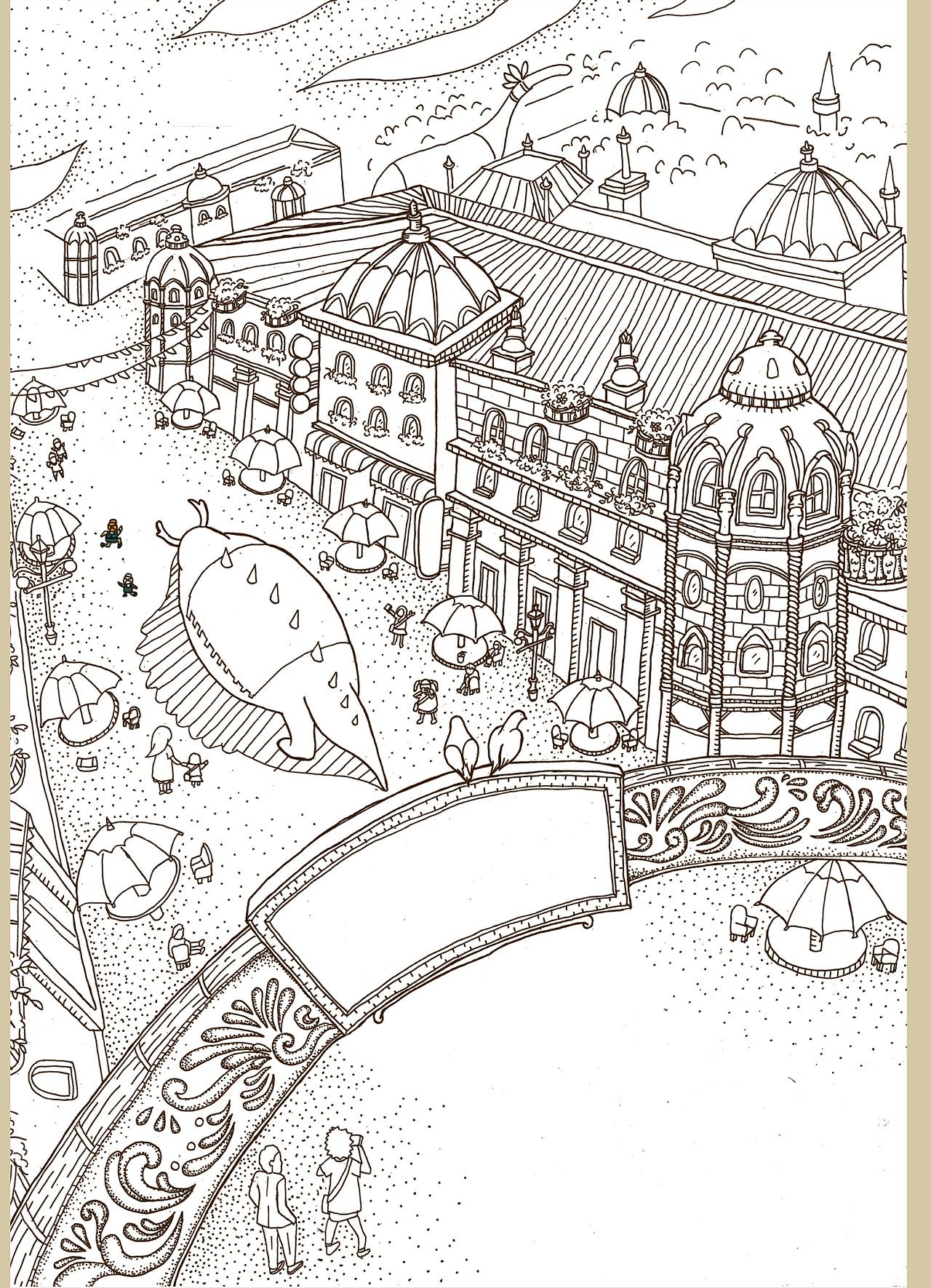 手绘游园路线图