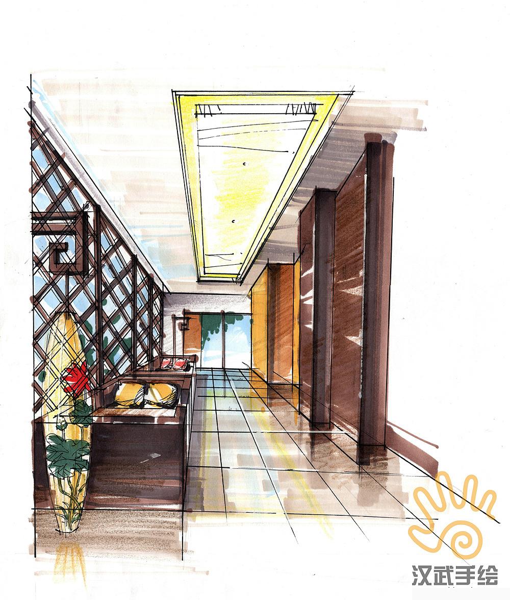 禅意室内手绘方案效果图|空间|室内设计|whhwsh