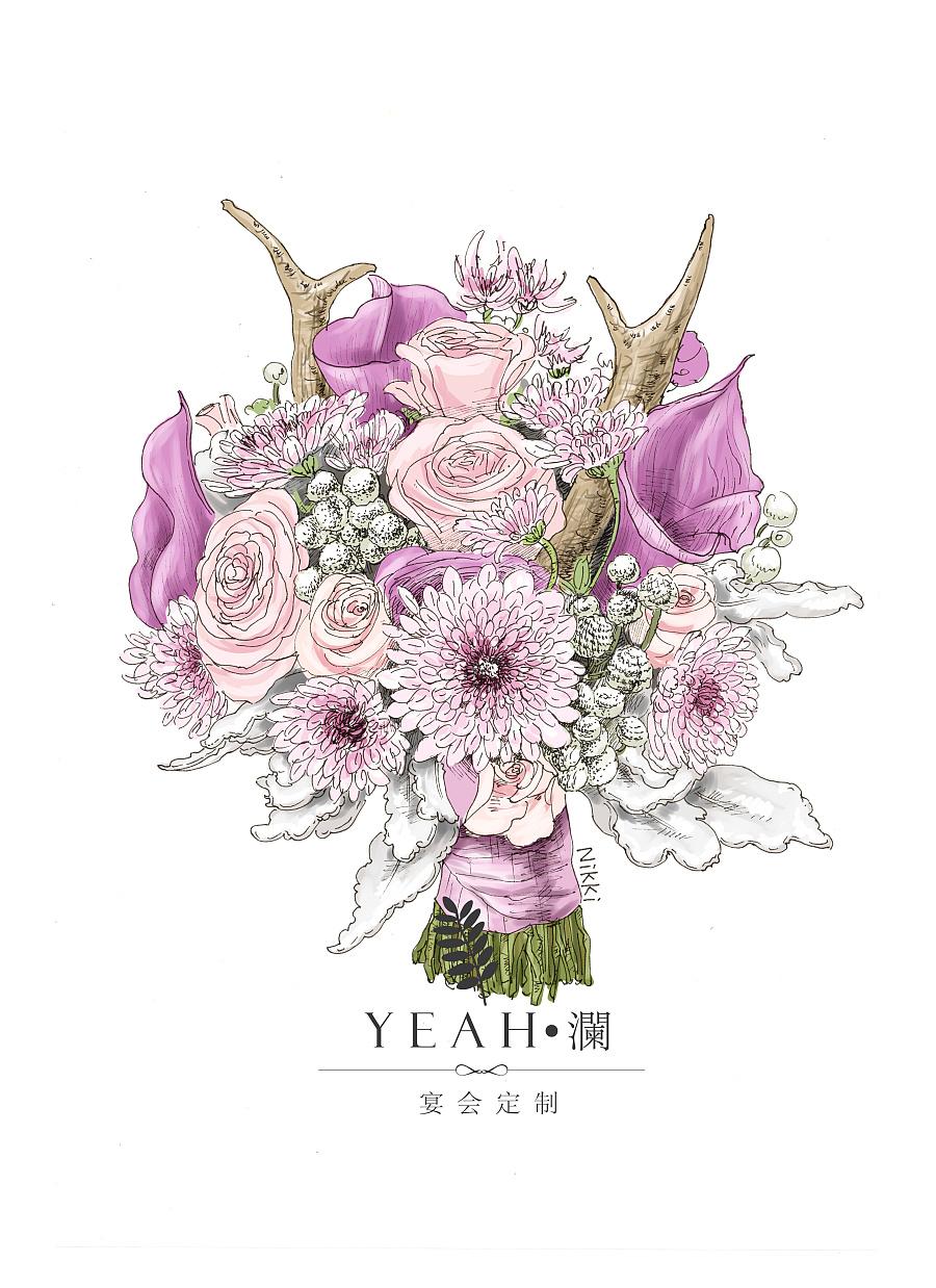 婚礼手绘手捧花|绘画习作|插画|蟹小青