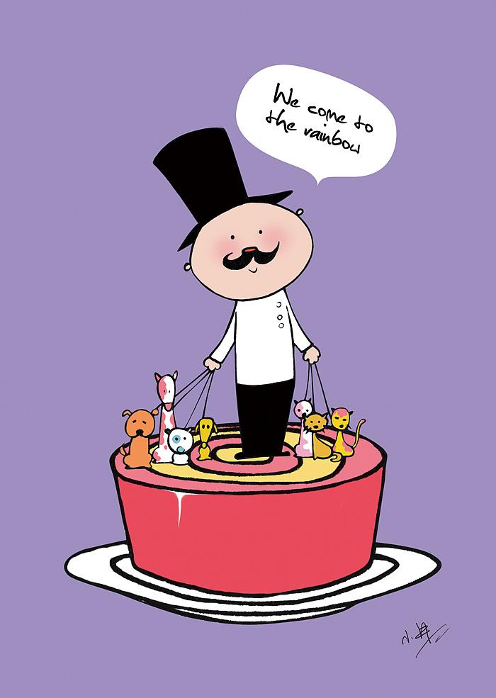 彩虹蛋糕手绘明信片