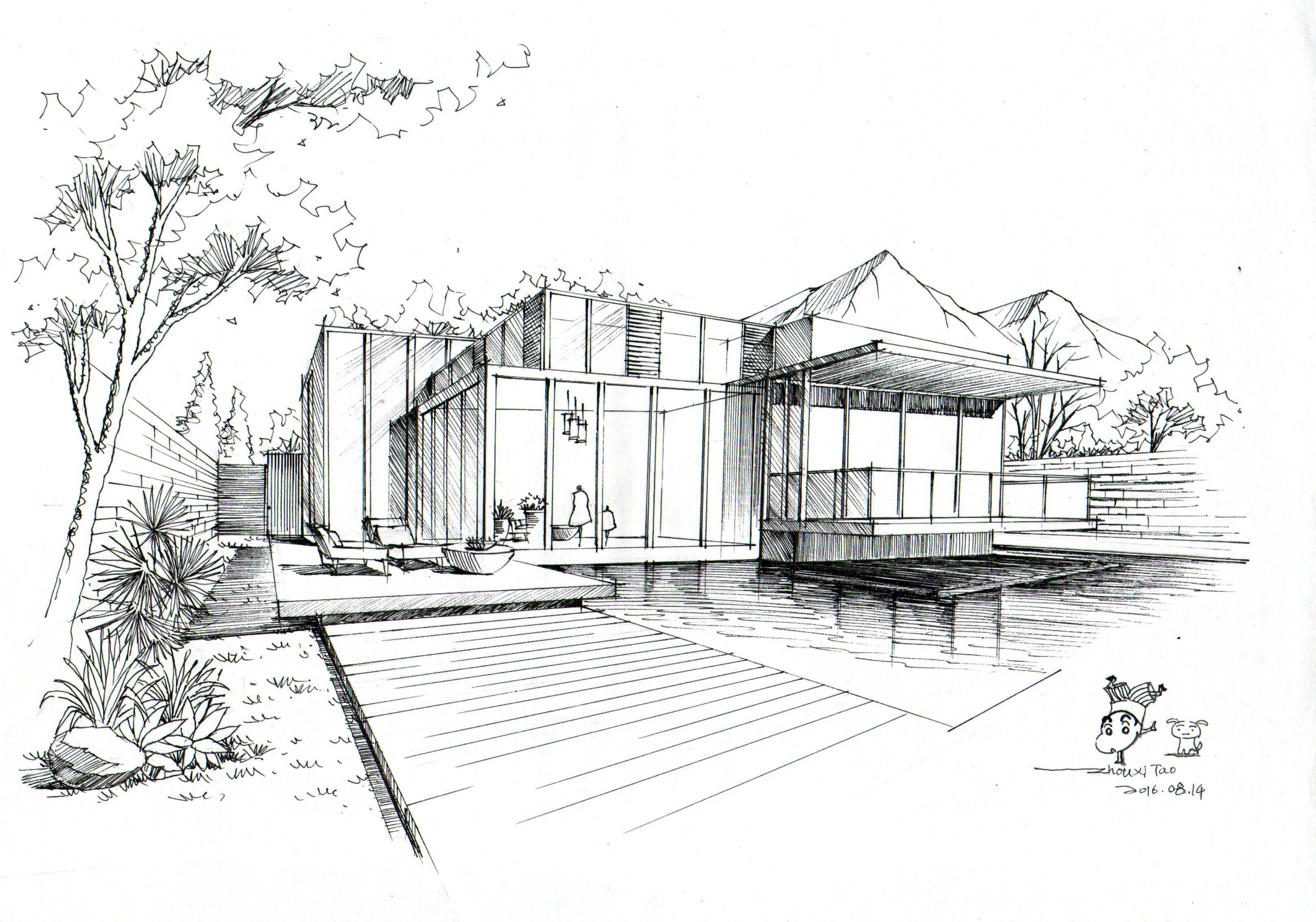 建筑手绘表现|空间|建筑设计|徒行 - 原创作品 - 站酷