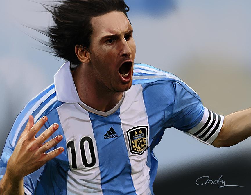 梅西,世界杯的时候涂的了  图片