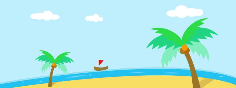 按钮大海椰子树