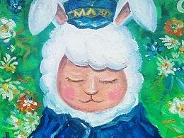 品牌logo/vi设计 玛尼兔吉祥物设计 插画设计 手绘油画