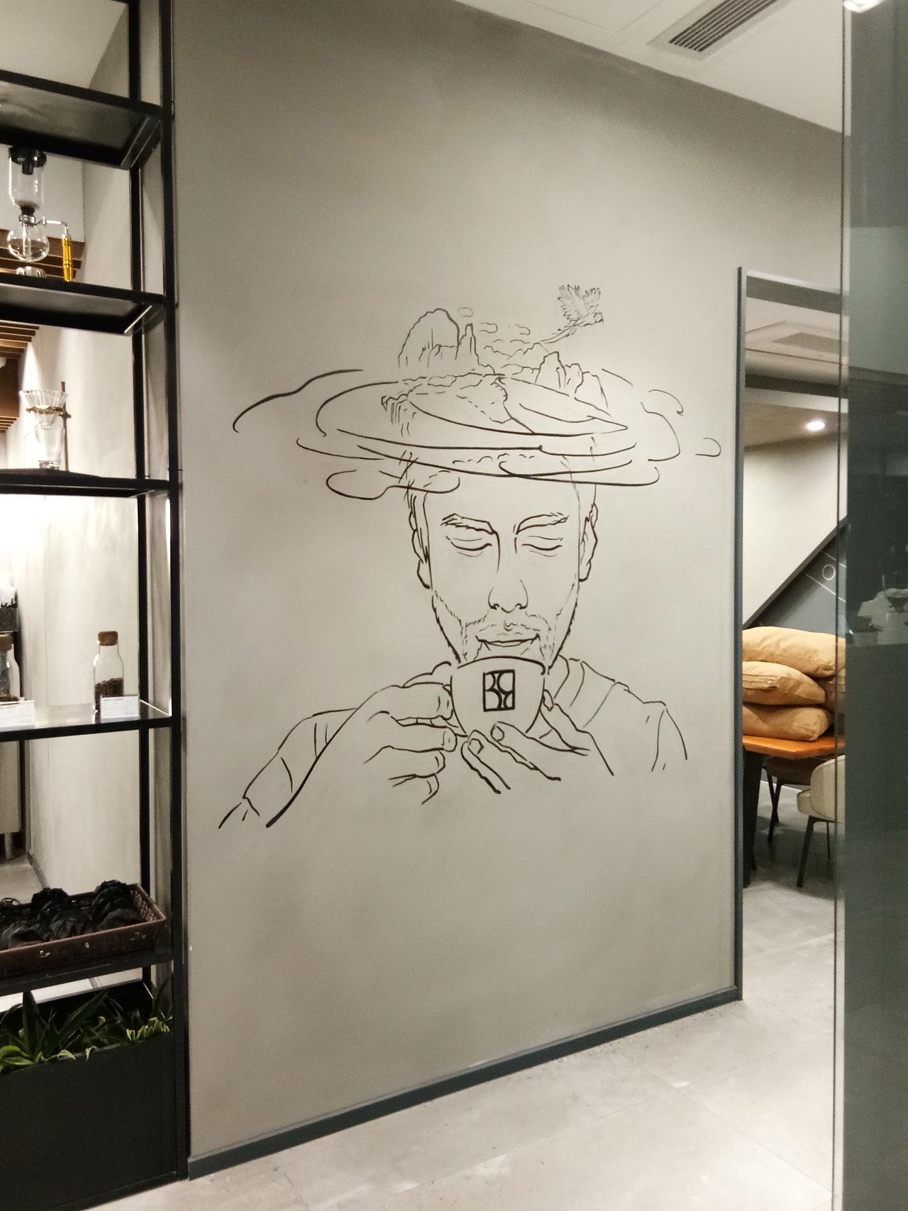 咖啡厅创意墙绘图片