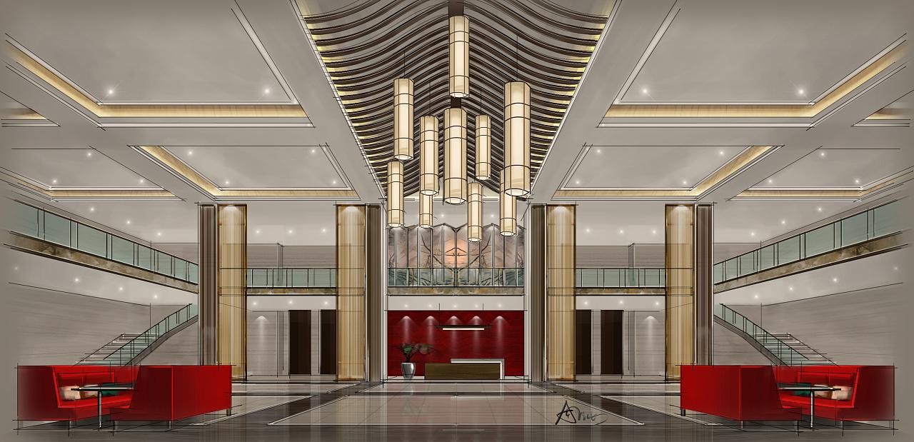 酒店大堂(电脑手绘效果图)