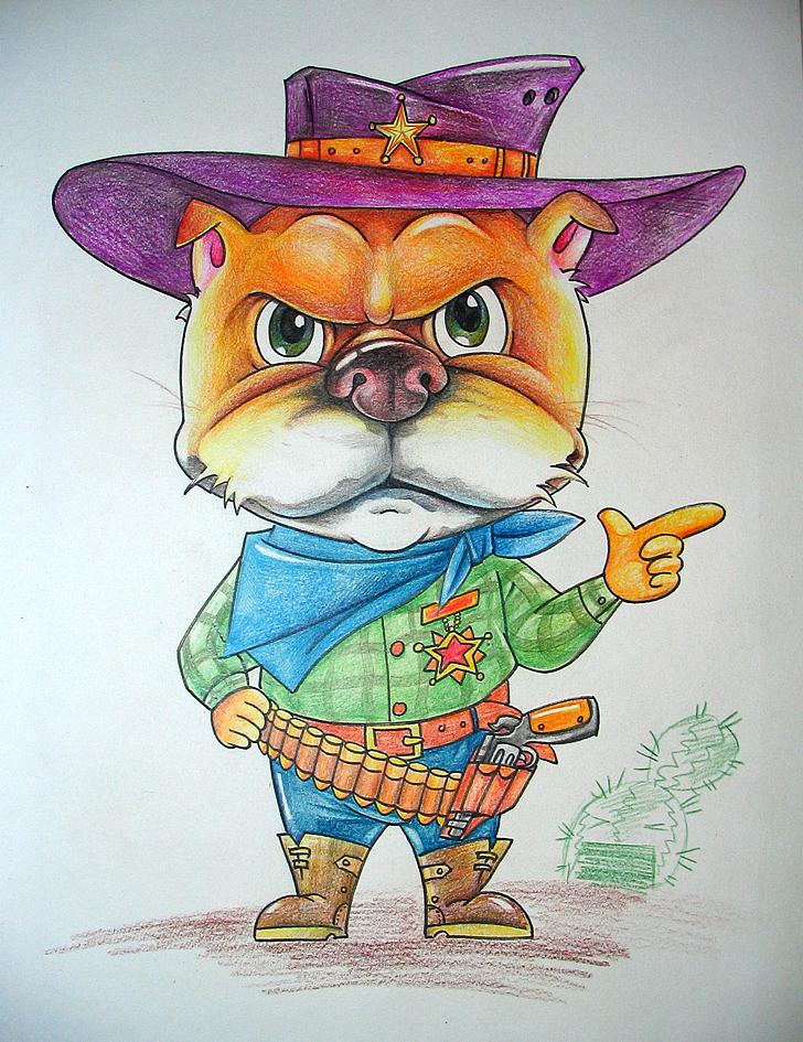 狗仔——彩铅卡通画