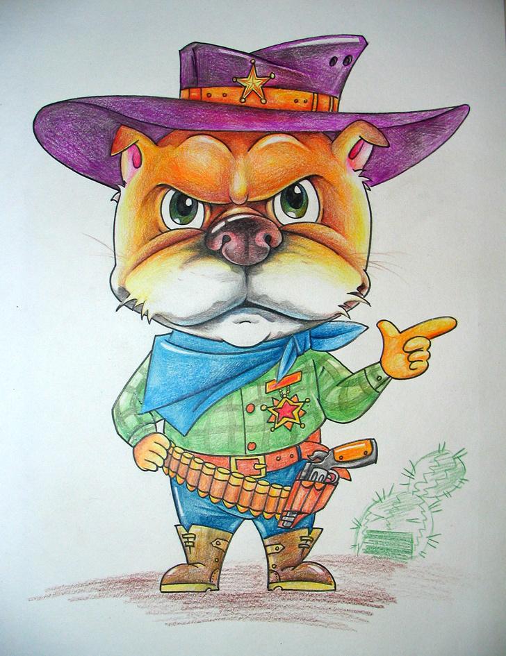 卡通动物彩铅画图片
