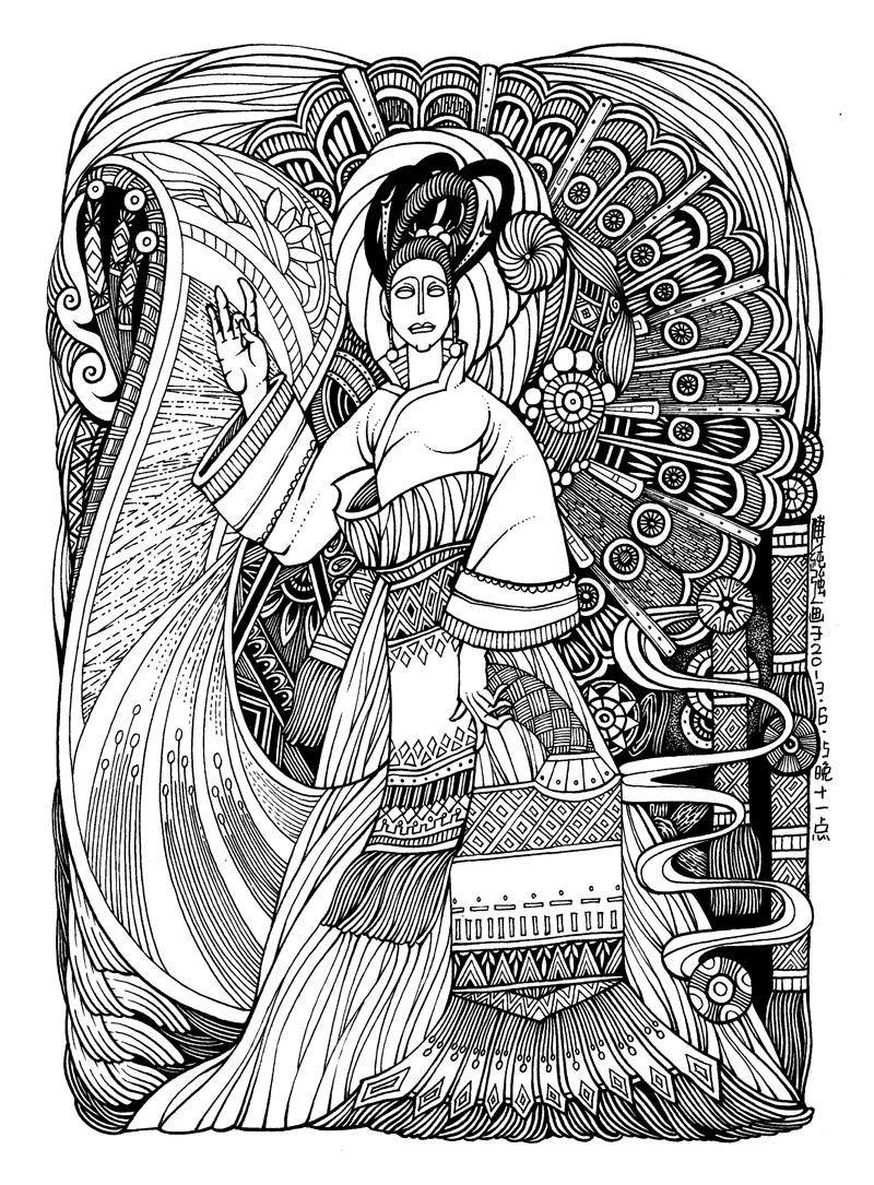 手绘黑白装饰画《盛开》过程图|商业插画