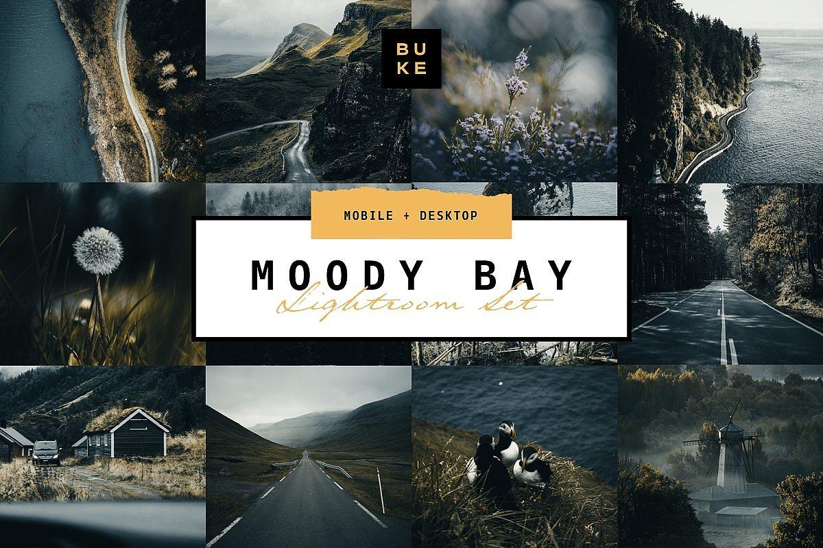 【P307】旅拍黑暗情绪电影胶片风光后期LR预设 /手机版LR预设 BUKESHOP Moody Bay